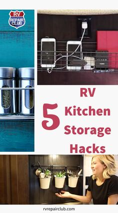 Space in most RV kitchens is at a premium, so sometimes you have to get a little creative to fit all of your essentials and still feel like you have room to move around. In this free video lesson, we teach you 5 easy and inexpensive RV kitchen storage solutions that you can use to get the most out of your limited space. Rv Storage, Storage Organization, Kitchen Wrap, Class C Rv, Kitchen Storage Solutions, Rv Tips, Maximize Space, Spice Jars, Camping Hacks