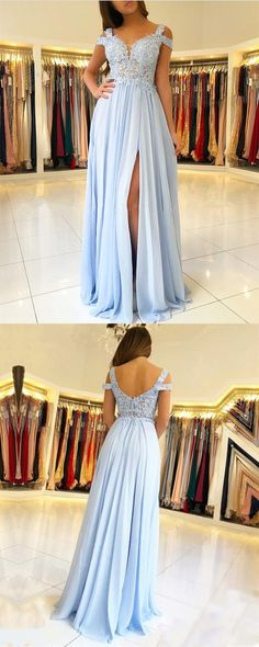 Sweetheart Prom Dress,Light Blue Prom Dress,Off The Shoulder Prom Dress,Split Prom Dress,Lace Formal Gown,Applique Formal Gown
