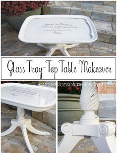 Glass Tray-Top Table Makeover with French Graphics - what to do with that old butler's table I have