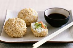 Instead of rolling sushi, you essentially stuff rice balls with your favorite sushi ingredients. I love (LOVE!) this idea.