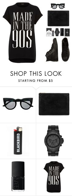 """""""All black evrythn"""" by anais-h ❤ liked on Polyvore featuring Retrò, Whistles, Blackbird, MICHAEL Michael Kors, NARS Cosmetics, River Island and Converse"""