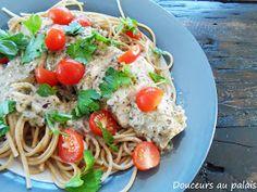 Douceurs au palais: Spaghettis multigrains, poulet grillé et sauce crémeuse au pesto