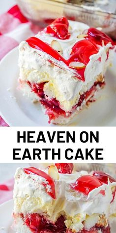 Heaven on Earth Cake with delicious layers of angel cake sour cream pudding cherry pie filling whipped topping and almonds. Creamy and decadent this cherry trifle is a sure crowd pleaser! Easy Desserts, Delicious Desserts, Yummy Food, Yummy Yummy, Delish, Food Cakes, Cupcake Cakes, Baking Cakes, Baking Recipes