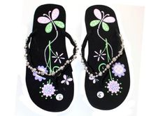 e2f5c6d8fbcda Womens Flip Flop With Flowers and Butterfly print Cool Style Dona Michi  Leather http