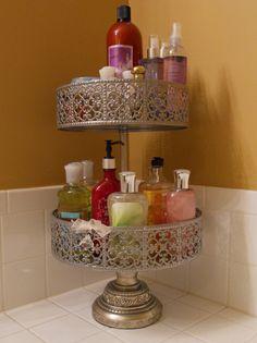 Cake Stand Used As a Bathroom Organizer