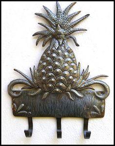 Metal Wall Hook. Pineapple Metal Wall Hanging by HaitiMetalArt