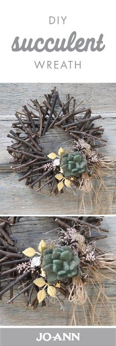 Accented with dried flowers, this DIY Succulent Wreath makes a great decoration for the front door. Simply gather an assortment of rustic accents to create this decor project for your home.