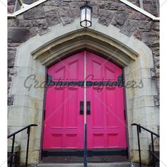 Old Church Doors | Old Style Magenta Church Doors Ona Stone Building