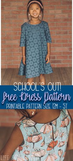free dress sewing pattern for Girls - Life Sew Savory - Pdf sewing patterns - Sewing Patterns Girls, Sewing For Kids, Free Sewing, Dress Patterns, Pattern Sewing, Pants Pattern, Pdf Patterns, Clothing Patterns, Easy Sewing Projects