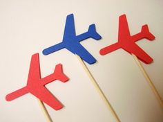 { Airplane Party Picks }   color : red & royal blue ( any color combo mix is available too, you can put memo(colors) when you purchase )  qty: 24 pcs
