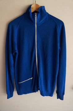 Vintage 70's Tracksuit Top - Blue - Small / Medium -  FREE SHIPPING (Item T35) Track Jacket Unisex 80s