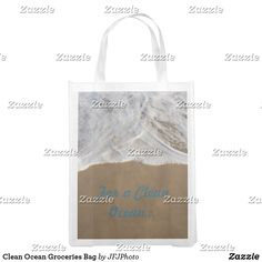 Shop Clean Ocean Groceries Bag created by JFJPhoto. Clean Ocean, Reusable Grocery Bags, Save The Planet, Carry On Bag, Paper Shopping Bag, My Design, Cleaning, Purses, Fabric
