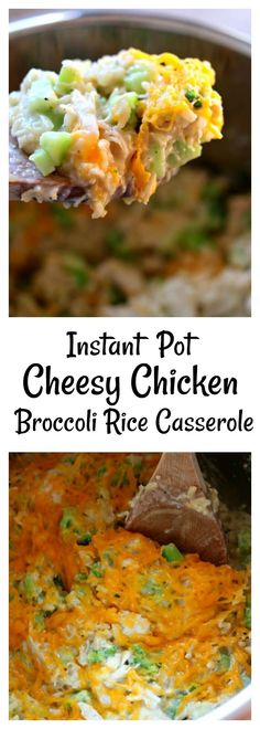 Instant Pot Cheesy Chicken Broccoli Rice Casserole–a lightened up, easy pressure cooker version of a favorite casserole. This version uses hearty brown rice and for the creaminess it uses greek yogurt instead of cream of chicken soup. #instantpot