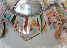 Christmas Decor Ideas : Illustration Description Shabby Pink Christmas Glitter Cardboard Putz House DIY Digital Garland Banner, Easy and Fun to Create. Christmas Makes, Retro Christmas, Christmas Items, Christmas Projects, All Things Christmas, Holiday Crafts, Christmas Glitter, Christmas Holidays, Primitive Christmas