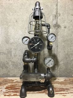 Steampunk Lamp, Copper, Vintage Industrial Table Art, Brass Gauges
