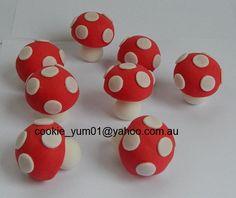 12 edible 3D MUSHROOM TOADSTOOL Mario fairy garden cake decorations cupcake wedding topper decoration anniversary birthday engagement by cookiecookieyumyum on Etsy https://www.etsy.com/au/listing/244061995/12-edible-3d-mushroom-toadstool-mario