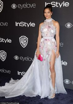 Bride to be! Shanina Shaik, 25, certainly looked the part of blushing bride as she stepped...