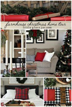 A cozy Farmhouse Christmas Home Tour to enjoy for the holidays! #Christmas #HomeTour www.littleglassjar.com