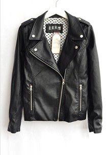 Black Lapel Long Sleeve Zipper PU Leather Jacket  Price :$65.78