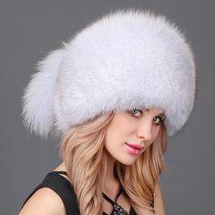 dd815f1a698 Fox Fur Headgear Russian Outdoor Girls Cap