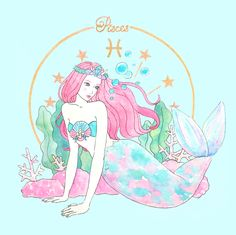 Sun in Pisces Aquarius Pisces Cusp, Astrology Pisces, Zodiac Art, Zodiac Signs, Zodiac Characters, Space Illustration, Mermaid Coloring, Mermaid Art, Beautiful Artwork