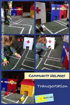 community helpers and transportation: police car (police officer), fire engine (firefighter), ambulance (doctor) and school bus (teacher). Role playing and pretend play in the block area Transportation Activities, Police Activities, Pre K Activities, Preschool Learning Activities, People Who Help Us, Community Helpers Preschool, Community Workers, Block Area, Kids Education