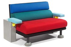 """The """"Lido"""" sofa by Michele de Lucchi for Memphis Offered in cotton or wool. Funky Furniture, Furniture Design, Conception Memphis, Memphis Furniture, 1980s Interior, Memphis Milano, 1980s Design, Memphis Design, Design Movements"""