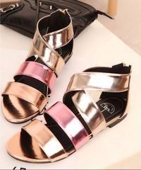 Pink Flat Sole Gladiator Strappy Design Sandals