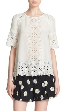 kate spade new york embroidered eyelet swing top