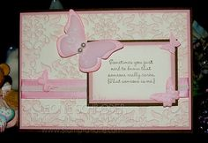 Recipe  Stamps: Occasional Quotes (Level 3 Hostess set)  Inks: Blushing Bride, Soft Suede  Paper: Soft Suede, Blushing Bride, Very Vanilla, Pretty in Pink, Vellum Cardstock  Accessories: Big Shot, Vintage Wallpaper Textured Impressions Folder, Beautiful Wings Embosslits, Beautiful Butterflies Bigz Die, Stampin Sponges
