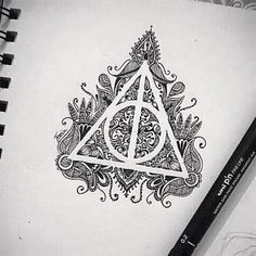 #drawing #design #image #blk #blkwte #wte #hp #harrypotter #deathlyhallows #beauty