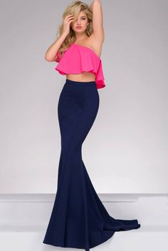 Jovani - JVN49532  Color Block Asymmetrical Two-Piece Mermaid Gown/ Long Prom Dress    (Asymmetrical Ruffled Panel, Two-Piece, Color Blocked, High Waist, Slender Waistband, Sweep Train, Natural Waistline)