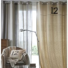 Mattress-Striped Curtain with Eyelet Header, 33% Linen Linen beige/charcoal grey