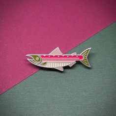 Sockeye Salmon Enamel Lapel Pin Badge // Stocking Stuffer Gift for Fly Fisherman Fishing