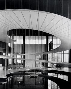 Convair Aeronautics.  Staircase designed 1958 by Pereira & Luckman Architects, San Diego/USA, Photographed by Julius Shulman