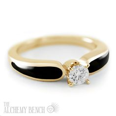 Striking diamond and black onyx engagement ring, set into yellow gold. Handmade in the USA Onyx Engagement Ring, Handmade Engagement Rings, Alchemy, Black Onyx, Wedding Bands, Opal, Bench, Jewels, Stone