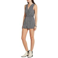 Bcbgeneration Surplice Skort Romper (£38) ❤ liked on Polyvore featuring jumpsuits, rompers, golf skirts, v neck romper, playsuit romper, striped rompers and striped romper