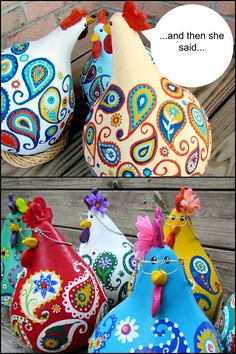 Make adorable chicken decor from gourds! – Craft projects for every fan! Rock Crafts, Crafts To Make, Arts And Crafts, Diy Crafts, Gourd Crafts, Chicken Crafts, Chicken Art, How To Dry Gourds, Rama Seca