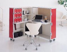 Space-Saving Furniture: Home Office Desk & Storage Portable Desk, Portable House, Modern Home Office Furniture, Home Office Design, Office Designs, Space Saving Furniture, Bar Furniture, Furniture Dolly, Furniture Stores