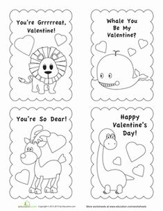 Animals Valentine Cards Templates for Kids. Super cute, easy to ...