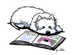Wendell Loves Books Drawing - Wendell Loves Books Fine Art Print