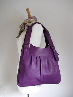Purple Leather Pleated Tote from TheLeatherStore on Etsy, $135