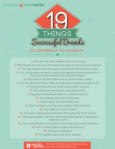 19 Things Successful Brands Do Different on #Facebook - #SocialMedia #Infographic