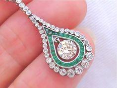 ESTATE EDWARDIAN 1.15ct DIAMOND .20ct EMERALD NECKLACE #EDWARDIAN