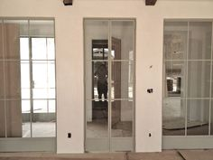 Steve and Brooke Giannetti home | steel interior doors in pale blue gray