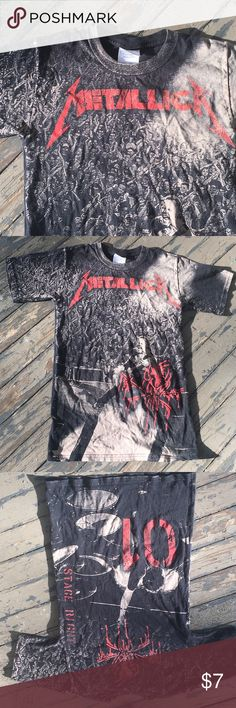 "Metallica Tee Shirt A nice heavy weight cotton Tee with awesome ""Metallica""  graphics front and back❗A ""Hanes Heavyweight T in a size Adult XS (30-32) slim fit, which will fit a youth Large/XL In very good previously enjoyed condition and * from a smoke free home. Hanes Shirts Tees - Short Sleeve"