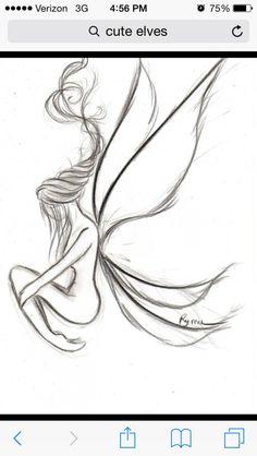 Gothic Drawings, Fairy Drawings, Fantasy Drawings, Cool Art Drawings, Art Drawings Sketches, Pencil Drawings, Fairy Sketch, Fairy Tattoo Designs, Gothic Fantasy Art