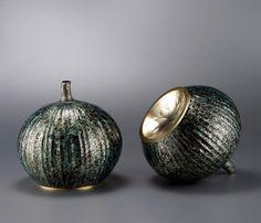 Wayne Meeten, Artist, Summer Fruits, pair of Mokume Gane, Britannia Silver and gold gilding, 170 x 200 mm