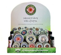 Award Winning Wholesale Natural Lip Balm and Hand Balm Counter Display for Boutique and Retail Stores