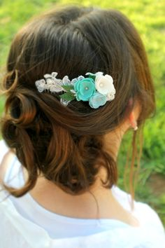 White Lace and Blue Flower Cluster One of a Kind by AuroraWithLove, $65.00